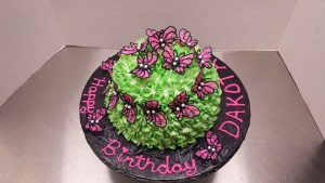 Butterflies on Hydrangea Cake