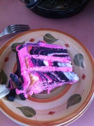 Zebra cake inside!