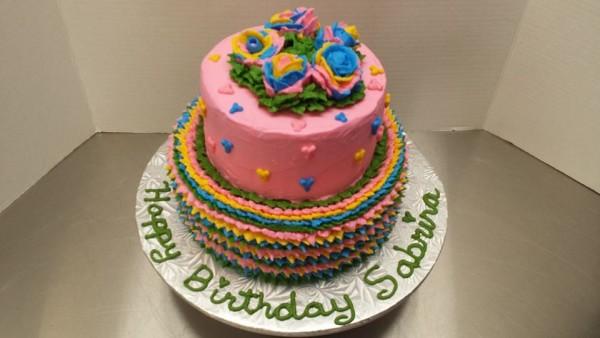 multi coloured roses birthday cake